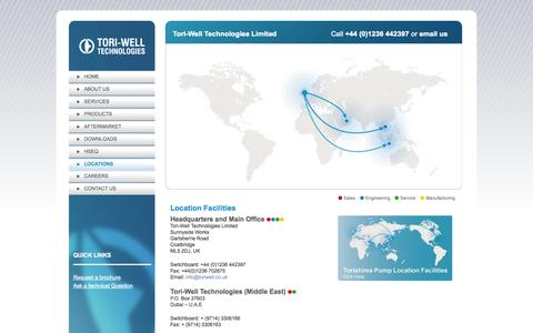 Screenshot of Locations Page toriwell.co.uk - Locations   Tori-Well Technologies Limited - captured Oct. 7, 2014