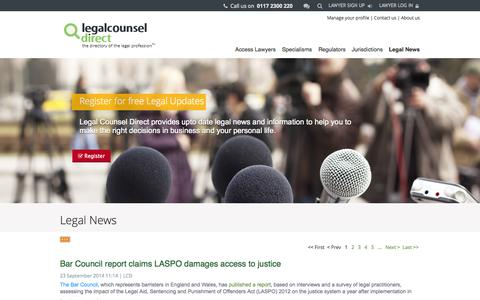 Screenshot of Press Page legalcounseldirect.com - News - captured Sept. 29, 2014