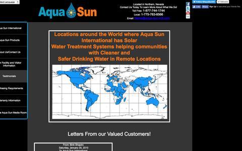 Screenshot of Testimonials Page aqua-sun-intl.com - Testimonials - captured Nov. 21, 2016