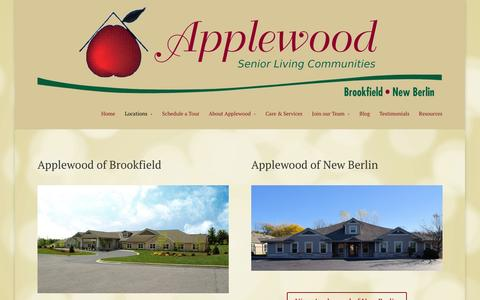 Screenshot of Locations Page applewoodliving.com - Our Locations   Applewood Assisted Living - New Berlin WI   Brookfield WI - captured Feb. 6, 2016