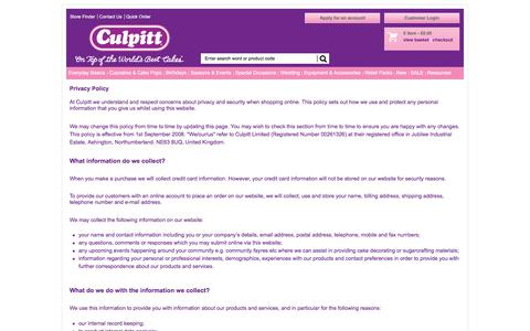 Screenshot of Privacy Page culpitt.com - Privacy Policy - captured Sept. 3, 2017