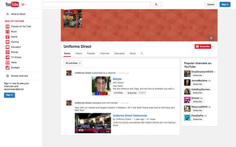 Screenshot of YouTube Page youtube.com - Uniforms Direct  - YouTube - captured Oct. 26, 2014