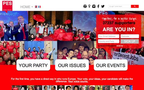 Screenshot of Home Page pes.eu - PES - captured Oct. 1, 2014