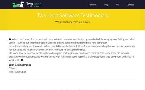 Screenshot of Testimonials Page twoloonsoftware.com - Two Loon Software - Testimonials - captured Sept. 30, 2014