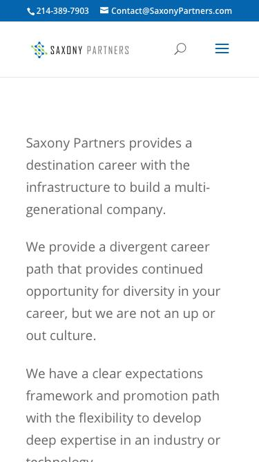 Screenshot of Jobs Page  saxonypartners.com - Career Path   Saxony Partners