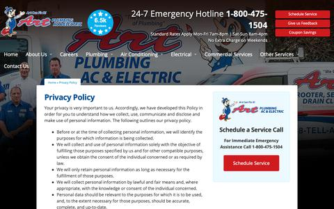 Screenshot of Privacy Page artplumbingandac.com - Privacy Policy - Art Plumbing, AC & Electric - captured Oct. 4, 2018