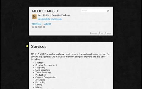 Screenshot of Services Page tumblr.com - Services | MELILLO MUSIC - captured Sept. 11, 2014