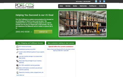 Screenshot of Home Page portcityfulfillment.com - Port City Fulfillment - captured Sept. 18, 2015