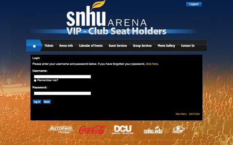 Screenshot of Login Page infinityprosports.com - SNHU Arena: Club Seat Holders - captured Dec. 5, 2018