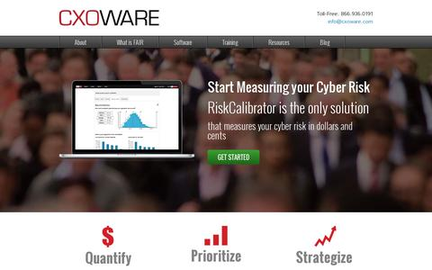 Screenshot of Home Page cxoware.com - CXOWARE - Leading an evolutionary advancement in quantitative information security and operational risk management - captured July 11, 2014