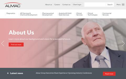 Screenshot of Home Page almacgroup.com - Partnering to Advance Human Health - Almac - captured May 29, 2017