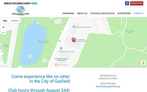 Screenshot of Contact Page bgcgarfield.org - Contact | Boys and Girls Club - captured Dec. 19, 2018