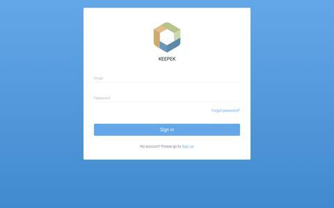 Screenshot of Login Page keepek.com - Keepek | Sign In - captured June 9, 2017