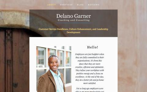 Screenshot of About Page delanogarner.com - About — Delano Garner Consulting - captured Oct. 5, 2014