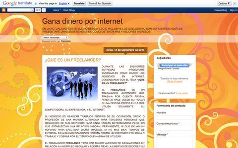Screenshot of Home Page hazdeinternettunegocio.blogspot.mx - Gana dinero por internet - captured Sept. 23, 2014