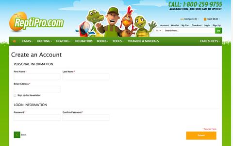 Screenshot of Signup Page reptipro.com - Create New Customer Account - captured Oct. 26, 2014