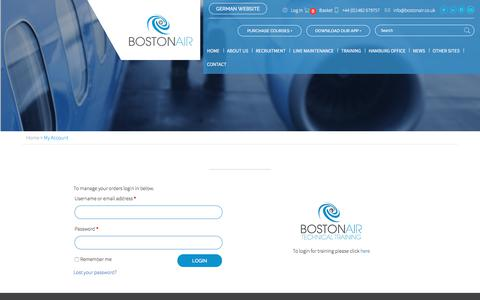 Screenshot of Login Page bostonair.co.uk - My Account - Bostonair - captured June 2, 2017
