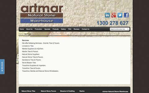 Screenshot of Services Page artmar.com.au - Services - captured Oct. 4, 2014