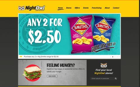 Screenshot of Home Page nightowl.com.au - Welcome to NightOwl Convenience Store | NightOwl - captured Oct. 10, 2014