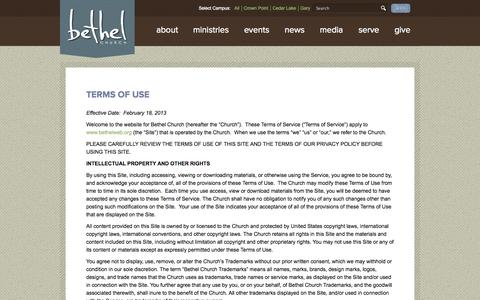 Screenshot of Terms Page bethelweb.org - Terms of Use - Bethel Church and Ministries - captured Oct. 8, 2014