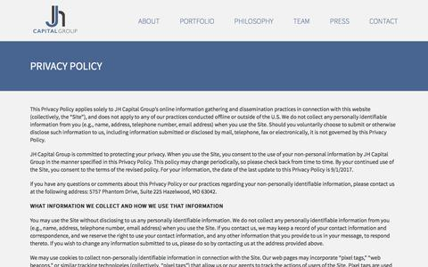 Screenshot of Privacy Page jhcapitalgroup.com - Website Privacy Policy - JH Capital Group - captured May 27, 2017