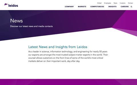 Screenshot of Press Page leidos.com - News | Leidos - captured Aug. 15, 2018
