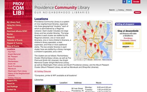 Screenshot of Locations Page provcomlib.org - Locations | Providence Community Library - captured Oct. 3, 2014