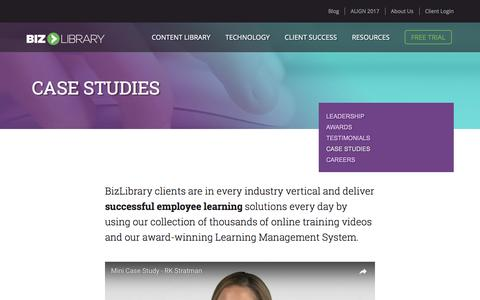 Screenshot of Case Studies Page bizlibrary.com - Case Studies | BizLibrary - Improving the Way Employees Learn - captured May 28, 2017