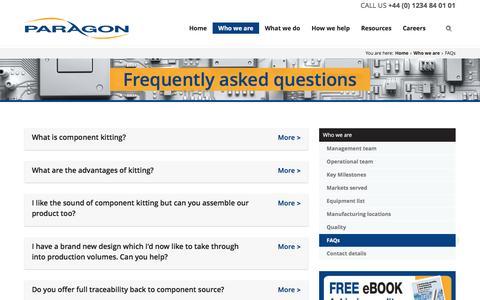 Screenshot of FAQ Page paragonelectronicsgroup.com - FAQ | Paragon - captured Aug. 13, 2016