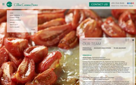 Screenshot of Team Page classiccatering.com - Classic Catering :: Our Team - captured Oct. 18, 2018
