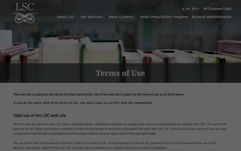 Screenshot of Terms Page lsc.on.ca - Terms of Use Library Services Centre - captured Nov. 10, 2018