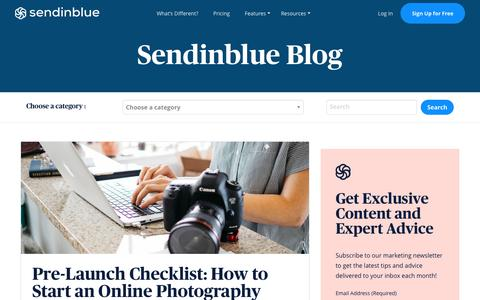 Screenshot of Blog sendinblue.com - Pre-lauch Checklist: How to Start an Online Photography Business | Sendinblue - captured Nov. 1, 2019