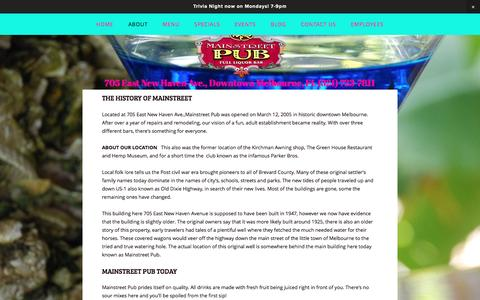 Screenshot of About Page mainstreetpub.cc - About — Mainstreet Pub - captured July 22, 2016