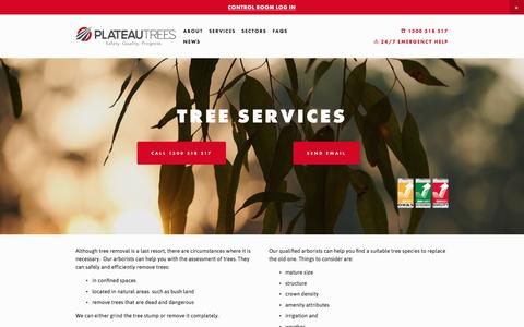 Screenshot of Services Page plateautrees.com.au - Tree Services — PLATEAU TREES - captured July 9, 2019