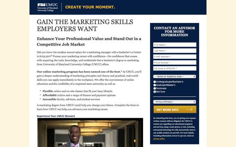 Screenshot of Landing Page umuc.edu - Online Undergraduate Marketing Degree | UMUC - captured April 15, 2017