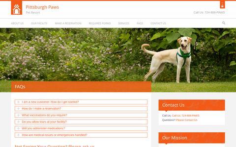 Screenshot of FAQ Page pghpaws.com - Pittsburgh Paws Pet Resort :: FAQs - captured Oct. 2, 2014