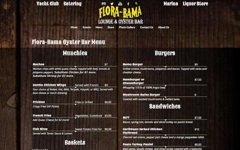 Screenshot of Menu Page florabama.com - oyster-bar-menu - captured Sept. 30, 2014