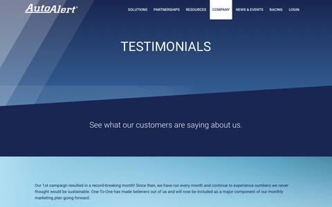 Screenshot of Testimonials Page autoalert.com - AutoAlert 		 » Testimonials - captured Feb. 19, 2017