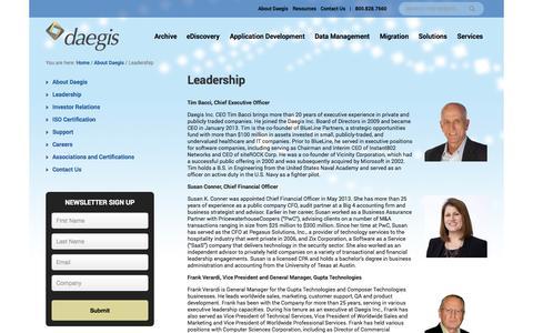 Screenshot of Team Page daegis.com - Leadership - Daegis - captured Oct. 2, 2014