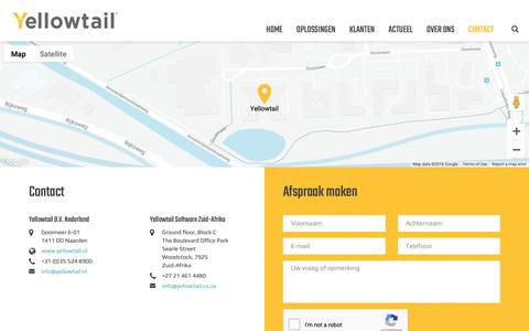 Screenshot of Contact Page yellowtail.nl - Contact » Yellowtail - captured Oct. 20, 2018
