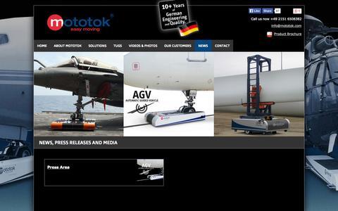 Screenshot of Press Page mototok.com - News and Press Releases • Mototok - captured Oct. 26, 2014