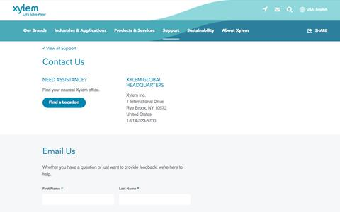 Screenshot of Contact Page xylem.com - Contact Us | Xylem US - captured Aug. 17, 2019