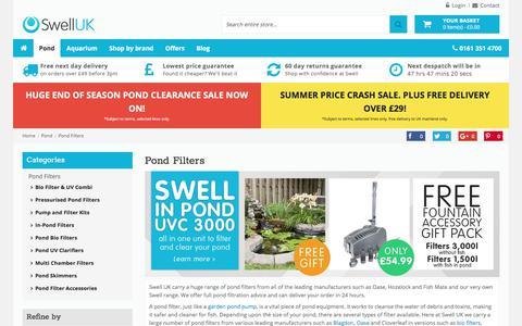 Screenshot of swelluk.com - Pond Filters - Huge Range from Swell UK | Swell UK Ltd - captured Sept. 16, 2017