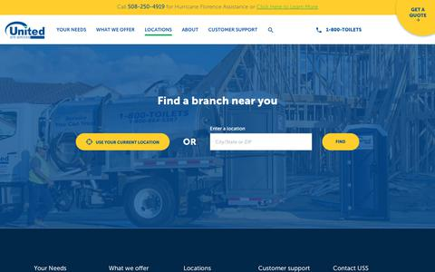 Screenshot of Locations Page unitedsiteservices.com - Our Service Area - Select Your State: | United Site Services - captured Sept. 21, 2018