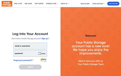 Screenshot of Login Page publicstorage.com - Account Log In   Public Storage - captured May 31, 2019