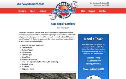 Screenshot of Services Page autoworksmn.com - Auto Works   Woodbury, MN   Auto Repair - captured Nov. 2, 2014