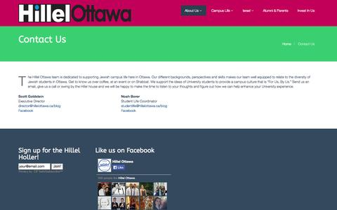 Screenshot of Contact Page hillelottawa.ca - Contact Us - Hillel Ottawa - captured Oct. 28, 2014