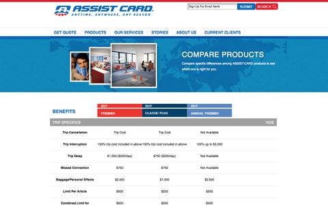 Screenshot of Products Page assist-cardusa.com - ASSIST-CARD | Travel Assistance – Travel Insurance | Products - captured Oct. 29, 2014