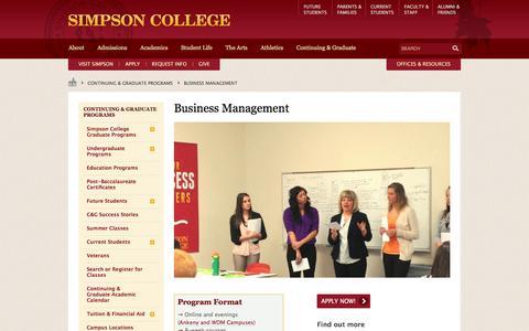 Screenshot of Team Page simpson.edu - Business Management - captured June 29, 2017
