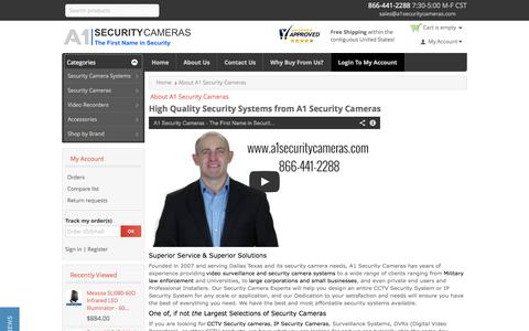 Screenshot of About Page a1securitycameras.com - About A1 Security Cameras - captured Sept. 23, 2014
